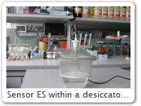 Sensor ES within a desiccator A HC1 with sensor ES monitors and documents the humidity inside a desiccator.