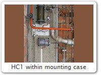 HC1 within mounting case A HC1 within a rough industrial environment, well protected by its mounting case.