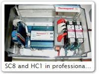 SC8 and HC1 in professional mounting case Here with DIN rail Ethernet Switch and DIN rail power supplies