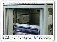 "SC2 monitoring a 19"" server rack"