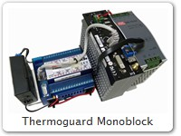 Thermoguard Monoblock Complete Monitoring unit (here for an outside broadcast vehicle of the RSI), DIN rail mounted (from left to right): GSM Modem * SC8e * DIN rail PC * Power Supply Further information on request
