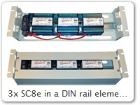 "3x SC8e in a DIN rail element to be mounted into a 19"" rack"